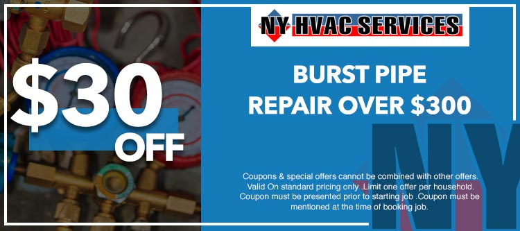 discount on burst pipe repair service in Manhattan, NY